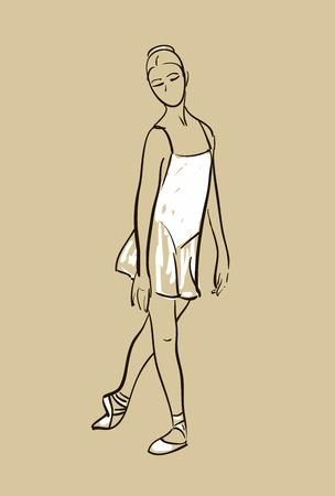 ポーズで立っている女の子のバレリーナのベクトル スケッチ