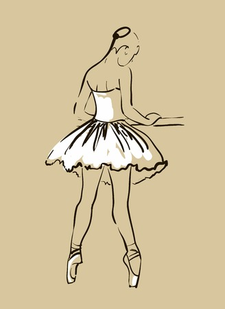 slim body: vector sketch of girl s ballerina standing in a pose