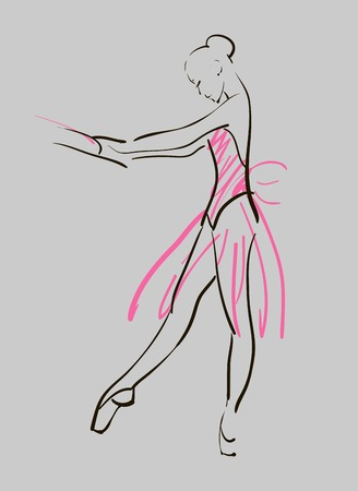sketch of girls ballerina standing in a pose Illustration