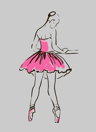 vector sketch of girl s ballerina standing in a pose