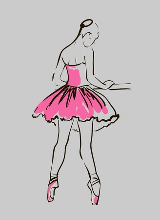 vector sketch of girl s ballerina standing in a pose Vector