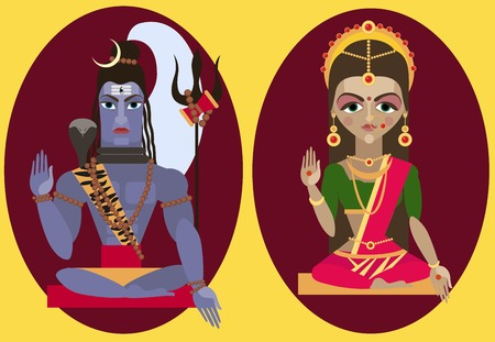 parvati: illustration lord Shiva and mata Parvati