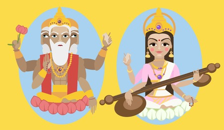 east indian: illustration lord Brahma and Sarasvati devi