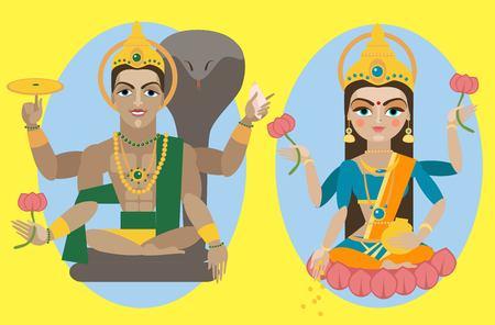 east indian: illustration lord Vishnu and mata Lakshmi Illustration