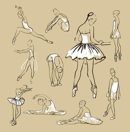 dibujo de bailarinas de la niña de pie en un conjunto pose