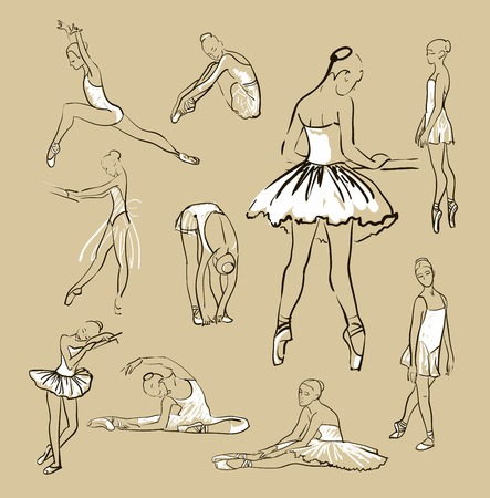 sketch of girls ballerinas standing in a pose set Vector