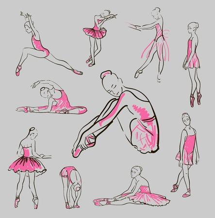 ポーズのセットに立っている女の子のバレリーナのスケッチ  イラスト・ベクター素材