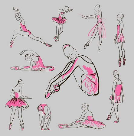 schets van ballerina meisje staan in een pose set Stock Illustratie
