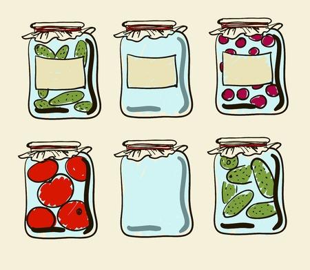 preserves: Tarros con conservas vegetales y mermeladas caseras. Vectores