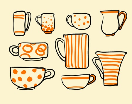 dinnerware: Set of coffee cups illustration Illustration
