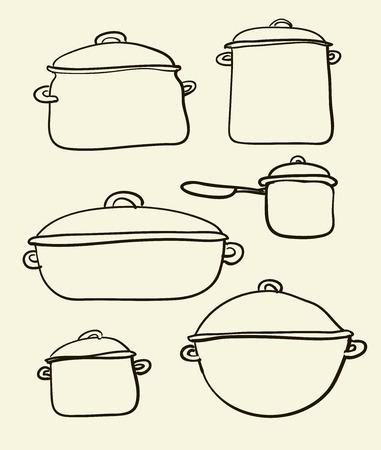 レトロなイラストの調理器具セット  イラスト・ベクター素材