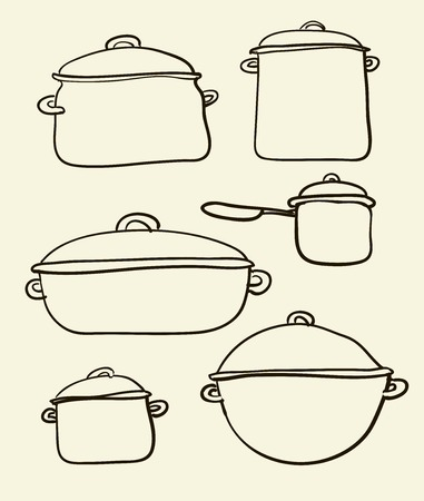 stainless steel pot: a Cookware set of Retro illustration