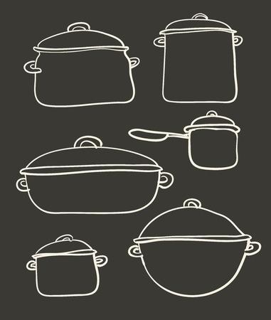 utensilios de cocina: un conjunto de utensilios de cocina de la ilustraci�n retro