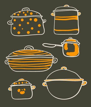 cookware: un conjunto de utensilios de cocina de la ilustraci�n retro