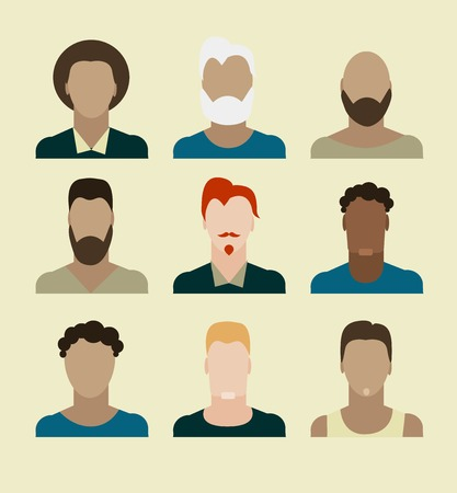 cartoon illustration of a handsome young man with various hair style and beard