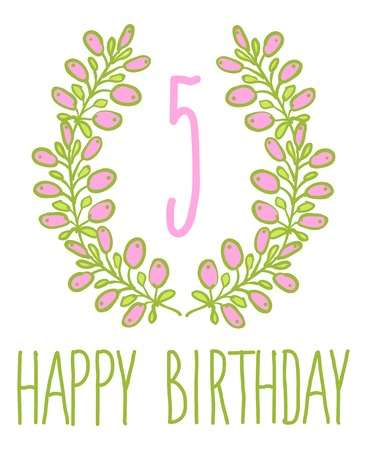 Happy birthday card invitation Set of floral graphic design elements candle number editable Vector