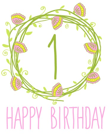Happy birthday card invitation Set of floral graphic design elements candle with number 1 Vector