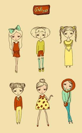 spring coat: illustration drawing vector teenage beautiful girl set