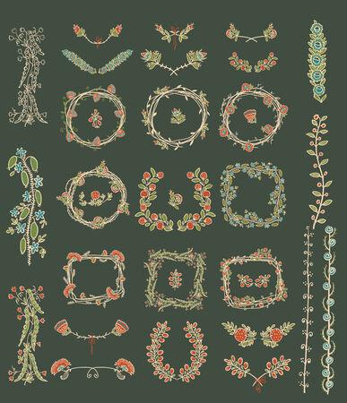 Big set of symmetrical floral graphic design elements Vector