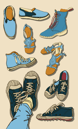 illustration Set of hipster Cartoon Shoes Vector