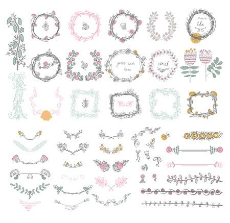 花のデザイン要素のグラフィック、花輪、リボン ラベルの大きなセット。