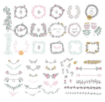 Big set of floral graphic design elements graphic, wreaths, ribbons and labels. 向量圖像