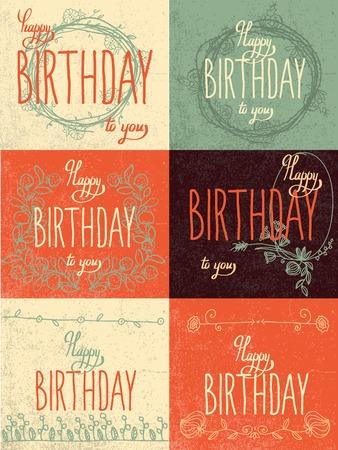 Set happy birthday hand lettering - handmade calligraphy