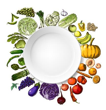 果物の野菜の手描きの一連の図
