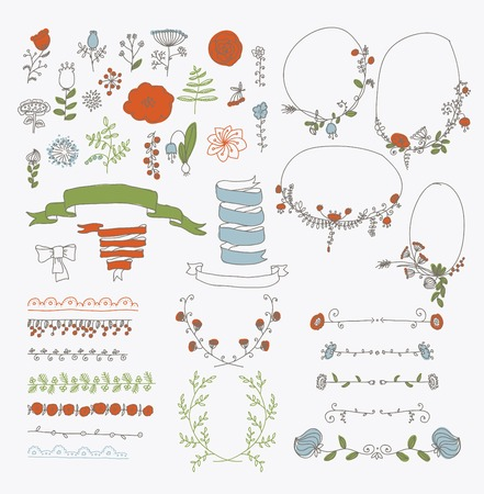 Big set of floral graphic design elements graphic, wreaths, ribbons and labels. Illustration