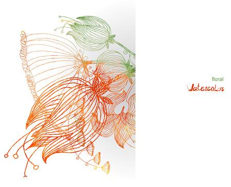 Floral vintage background. Watercolor flowers. vector illustration