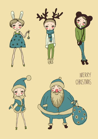 christmas funny girls icon set vector eps 10 Vector