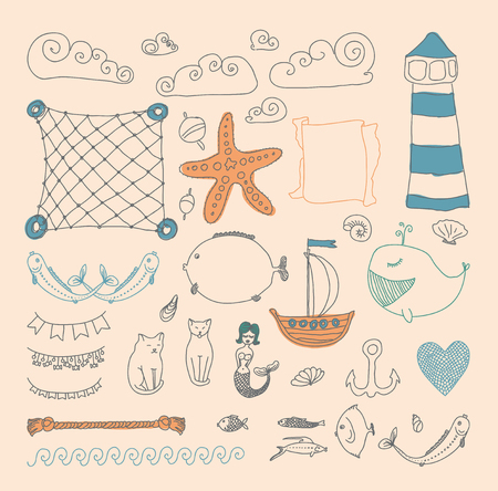 cute retro sea objects collection. vector illustration Vector