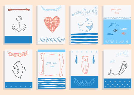 greeting card set cute retro sea objects collection. vector illustration Vector