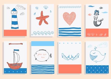グリーティング カードは、かわいいレトロ海オブジェクトのコレクションを設定します。ベクトル イラスト