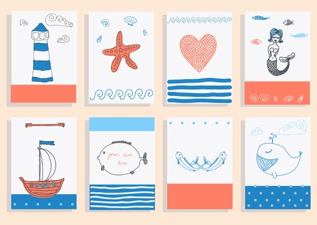 greeting card set cute retro sea objects collection. vector illustration
