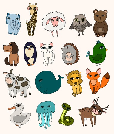 Vector set of cute wild animals  Vintage set. Vector