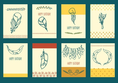 plumage: Vector decoration graphics, Set of Sketch Plumage for greeting card Illustration