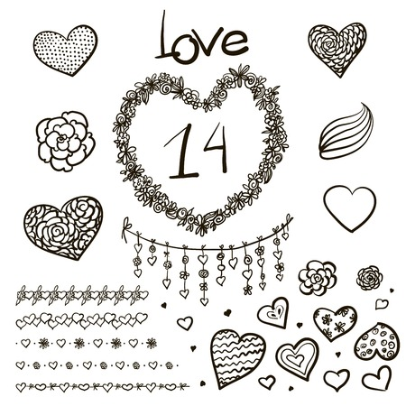 Vector large creative set of Valentines day  elements Vintage styled romantic ornamental Vector
