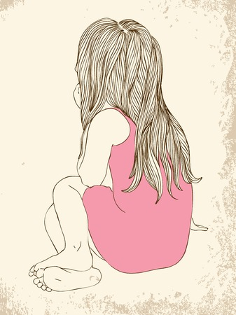 sweet baby girl: Little girl in a pink dress sitting back hair