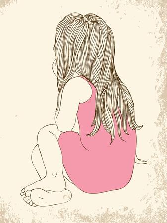 Menina em um vestido rosa que senta-se para trás o cabelo