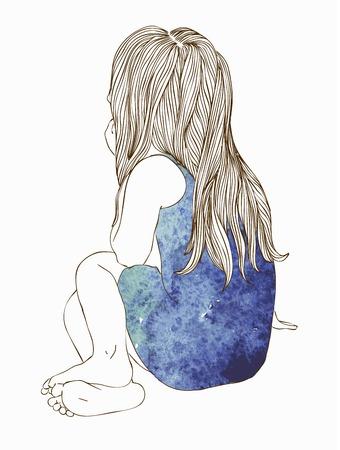 little girl feet: Little girl in a waatercolor dress sitting back hair Illustration
