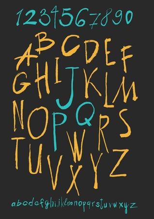 alphabet and numbers hand drawn in vector  Handwritten alphabet Vector