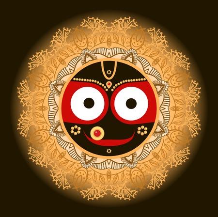 Jagannath. Indian God of the Universe. Lord Jagannatha. Vector