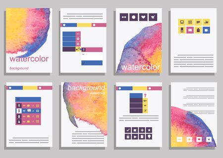Set Of Vector Poster Templates With Watercolor Paint Splash