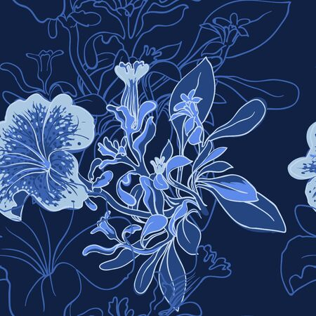 petunia: vector background Seamless floral background with petunia Illustration
