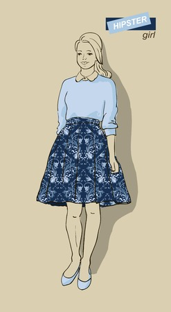 blonde teenage girl: vector illustration of beautiful fashion girls hipsters Illustration