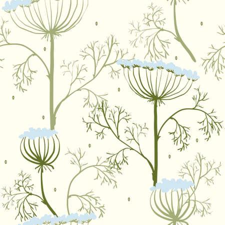 eleg�ncia: Elegance padr�o sem emenda com flores, ilustra��o vetorial floral em estilo vintage, Ucr�nia, dill
