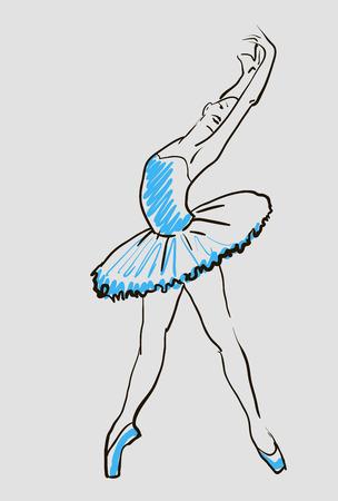 ballerina: vector sketch of girls ballerina standing in a pose
