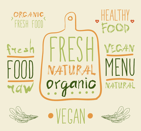 rindfleisch roh: Raw vegan Abzeichen. Vektor handgezeichneten Etiketten. Kalligraphie Illustration