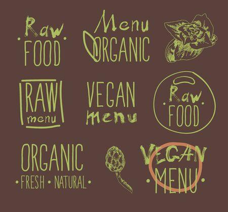 rindfleisch roh: Raw vegan Abzeichen Hand gezeichneten Etiketten.